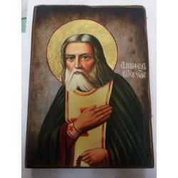 Серафим Саровский Икона  Греческая под старину ХОЛСТ НИМБЫ 10х12