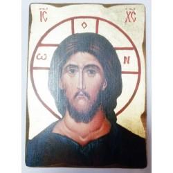 Спаситель 3 Икона  Греческая под старину ХОЛСТ ЗОЛОТО 16х22