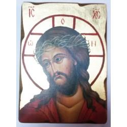 Спаситель в терновом венце Пр Б-ца 1 Икона  Греческая под старину ХОЛСТ ЗОЛОТО 16х22