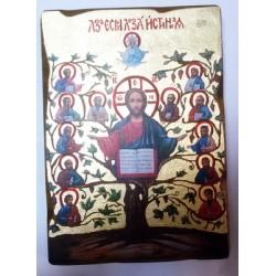 Азм есть Лоза истинная Пр Б-ца 1 Икона  Греческая под старину ХОЛСТ ЗОЛОТО 16х22