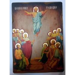 Вознесение Господне Икона  Греческая под старину ХОЛСТ НИМБЫ 16х22