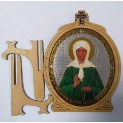 Матрона Иконы ОВАЛ под орг.стекл,на подс.15,5,х12см