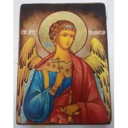 Ангел Хранитель Икона  Греческая под старину ХОЛСТ НИМБЫ 16х22