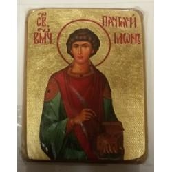 Пантелеймон Икона  Греческая под старину ХОЛСТ ЗОЛОТО 16х22