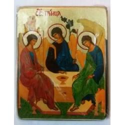 Тройца Икона  Греческая под старину ХОЛСТ ЗОЛОТО 16х22