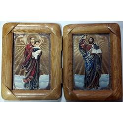Складень деревянный 10х14 К Благодатное небо и Спаситель