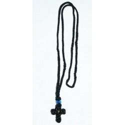 Крест нательный на нитке Черный,  ручное плетение Греция
