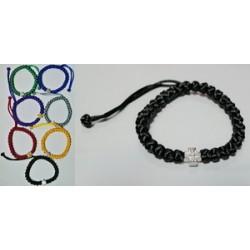 Браслет греческое плетение с металическим крестом БМ