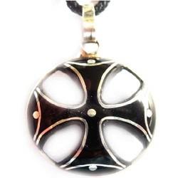 Крест Больнтси композиция серебра на гагатеа (100-3)