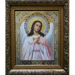 Ангел Хранитель Икона лик с камнями в баг.рам 15х18  ПС3194
