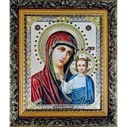 Казанская Икона лик с камнями в баг.рам 15х18  ПС622