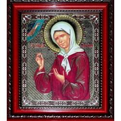 Матрона Икона лик с камнями в баг.рам 15х18  ПС159