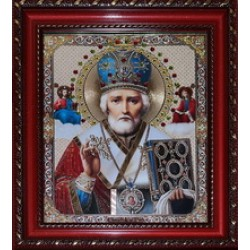 Николай Икона лик с камнями в баг.рам 15х18  ПС275