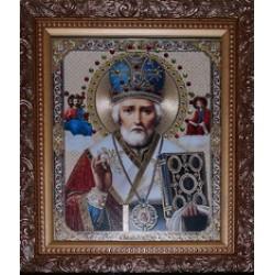 Николай Икона лик с камнями в баг.рам 15х18  ПС3194