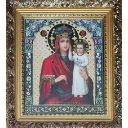 Призри Икона лик с камнями в баг.рам 15х18  ПС3194