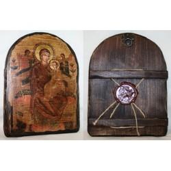 Всецарица Икона  Греческая под старину 17х23  Арка