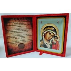 Казанская Икона Греческая писаная  в бархатной коробке
