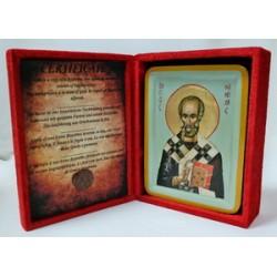 Николай Икона Греческая писаная в бархатной коробке