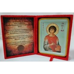 Пантелеймон Икона Греческая писаная  в бархатной коробке