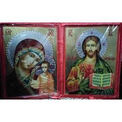 Казанская Спаситель Византийская 170х230 в Бархатной кор.цена за пару